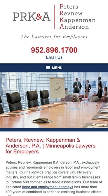 Responsive Mobile Attorney Website for Peters, Revnew, Kappenman & Anderson, P.A.