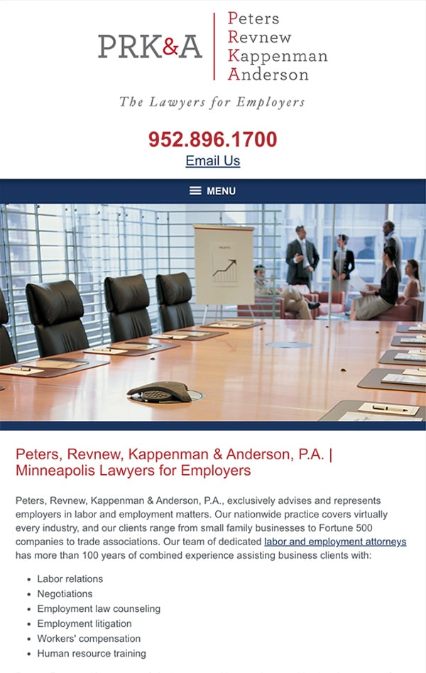 Mobile Friendly Law Firm Webiste for Peters, Revnew, Kappenman & Anderson, P.A.