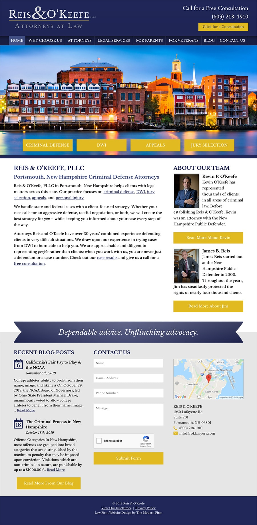 Law Firm Website Design for Reis & O'Keefe