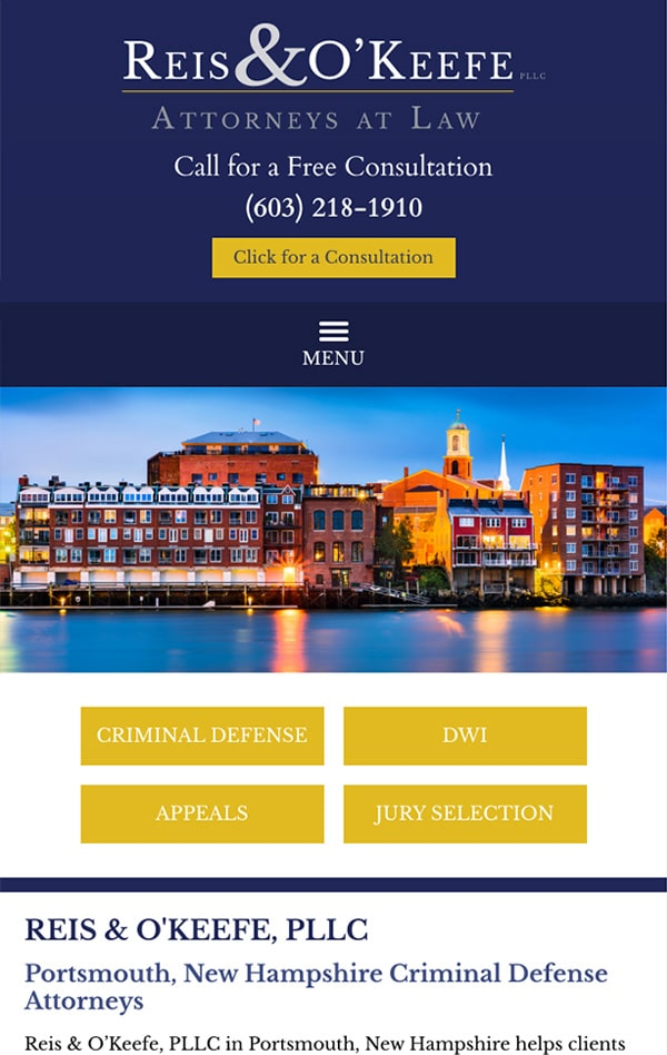 Mobile Friendly Law Firm Webiste for Reis & O'Keefe