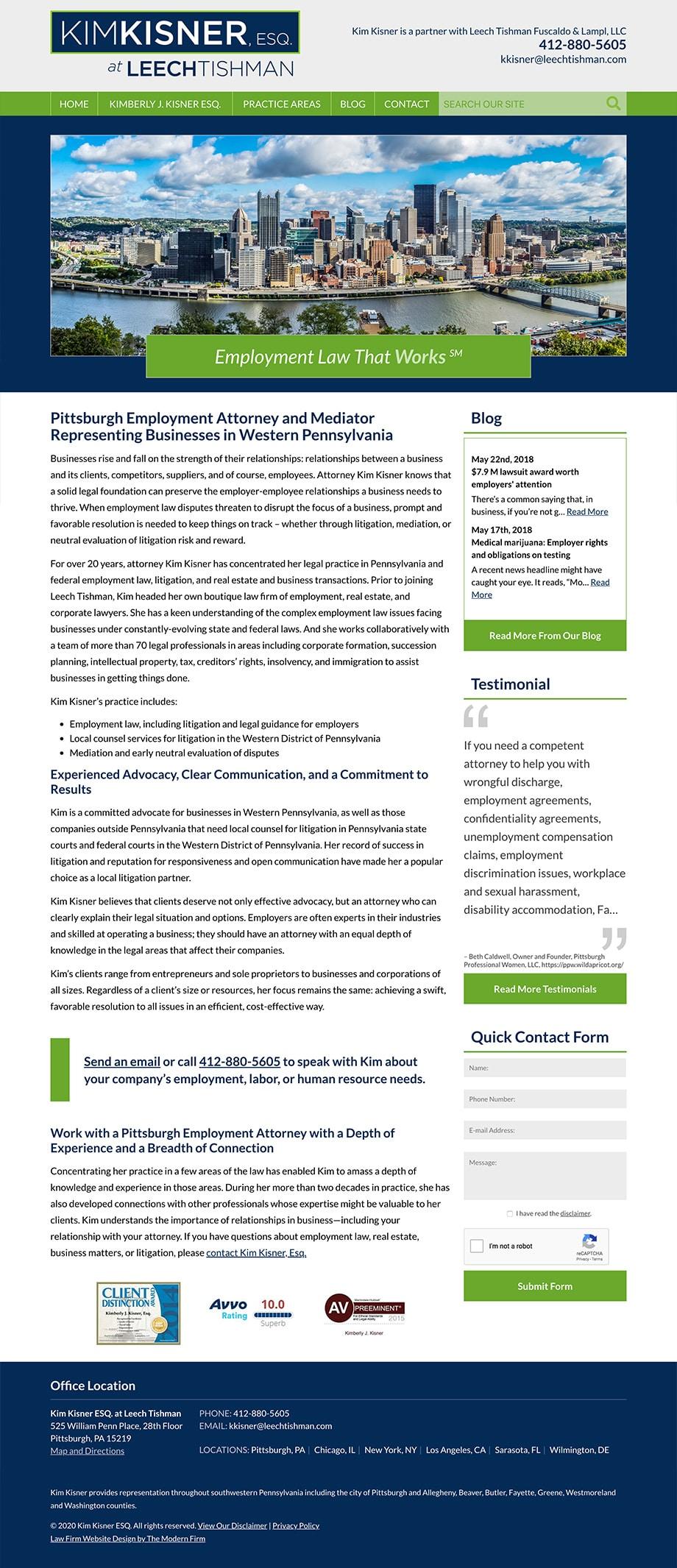 Law Firm Website Design for Kim Kisner ESQ. at Leech Tishman