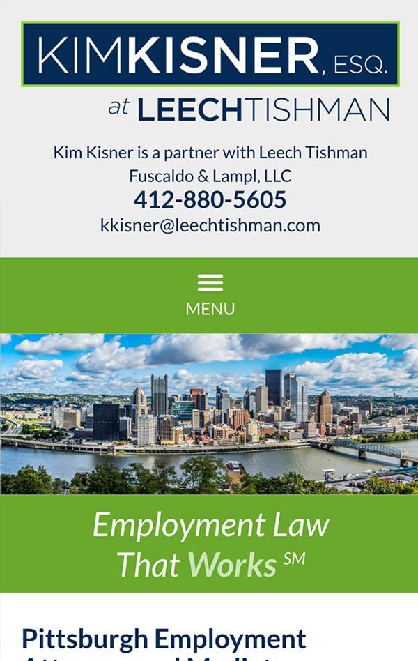 Mobile Friendly Law Firm Webiste for Kim Kisner ESQ. at Leech Tishman