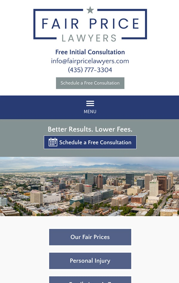 Mobile Friendly Law Firm Webiste for Fair Price Lawyers