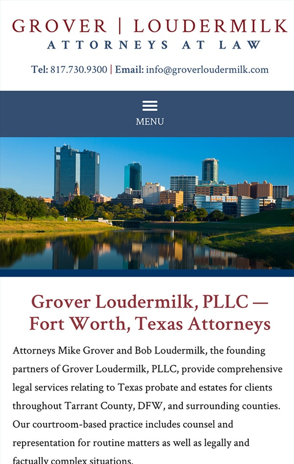Mobile Friendly Law Firm Webiste for Grover Loudermilk, P.L.L.C.