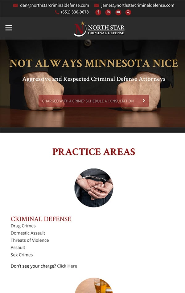 Mobile Friendly Law Firm Webiste for North Star Criminal Defense