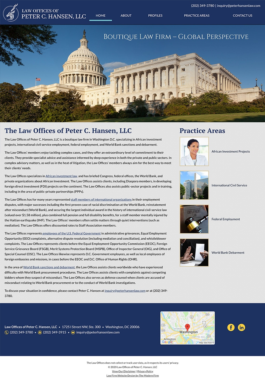 Law Firm Website Design for Law Offices of Peter C. Hansen, LLC