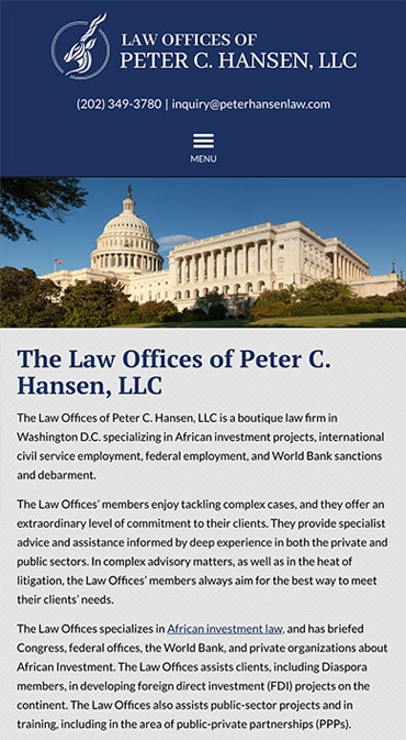 Responsive Mobile Attorney Website for Law Offices of Peter C. Hansen, LLC