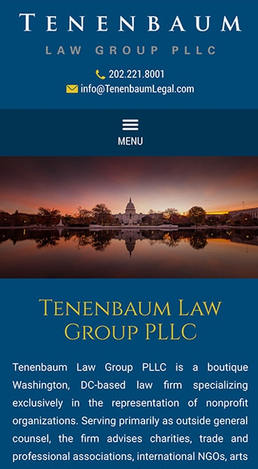 Responsive Mobile Attorney Website for Tenenbaum Law Group PLLC