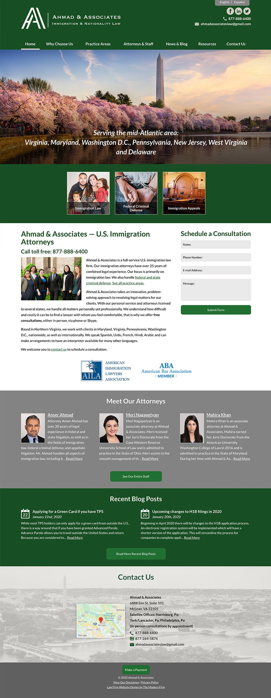 Law Firm Website Design for Ahmad & Associates