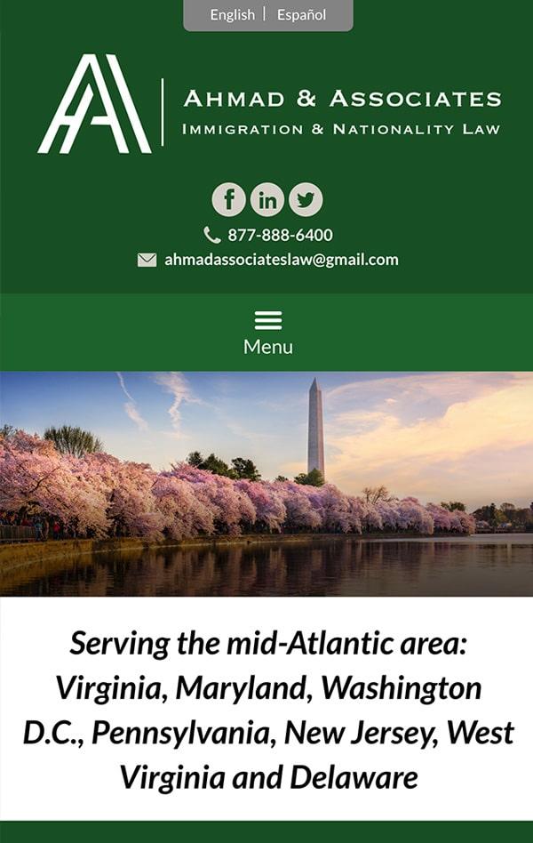 Mobile Friendly Law Firm Webiste for Ahmad & Associates