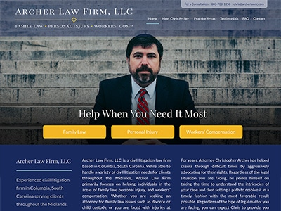 Law Firm Website design for Archer Law Firm, LLC