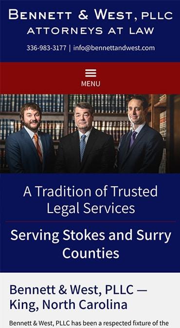 Responsive Mobile Attorney Website for Bennett & West, PLLC