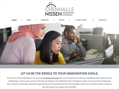 Law Firm Website design for Chenhalls Nissen, S.C.