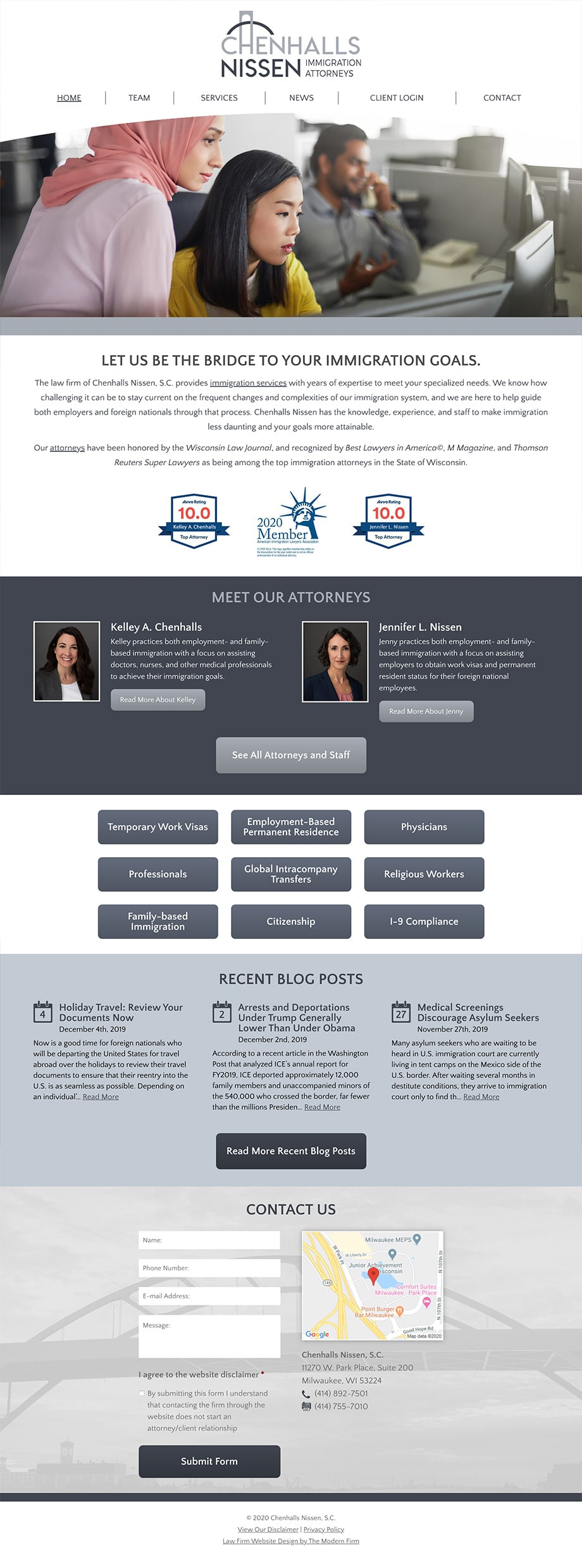 Law Firm Website for Chenhalls Nissen, S.C.