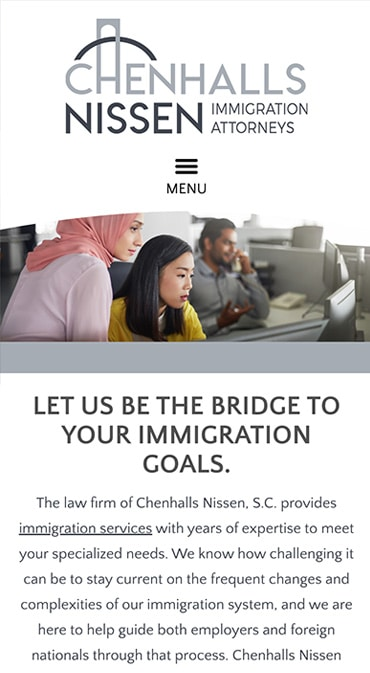 Responsive Mobile Attorney Website for Chenhalls Nissen, S.C.