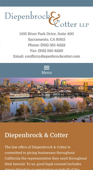 Responsive Mobile Attorney Website for Diepenbrock & Cotter LLP
