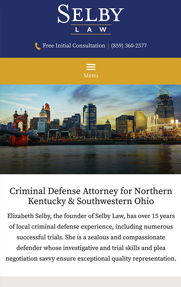 Mobile Friendly Law Firm Webiste for The Law Office of Elizabeth Selby, PLLC
