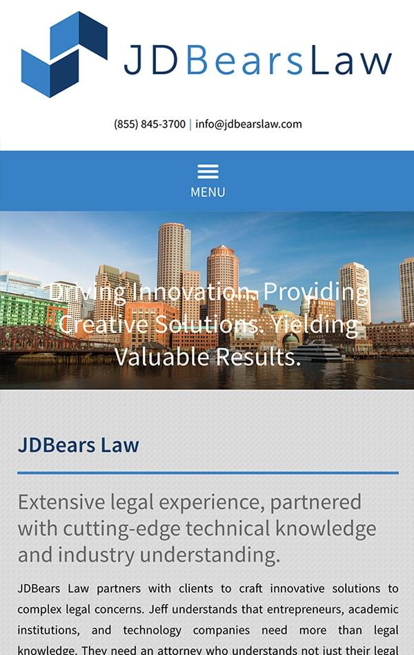 Mobile Friendly Law Firm Webiste for JDBears Law, LLC