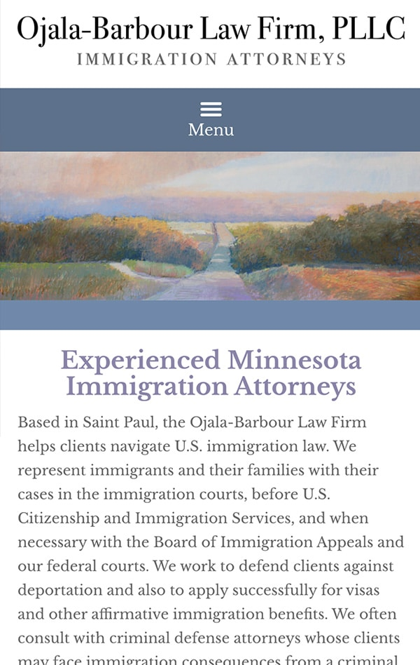 Mobile Friendly Law Firm Webiste for Ojala-Barbour Law Firm PLLC