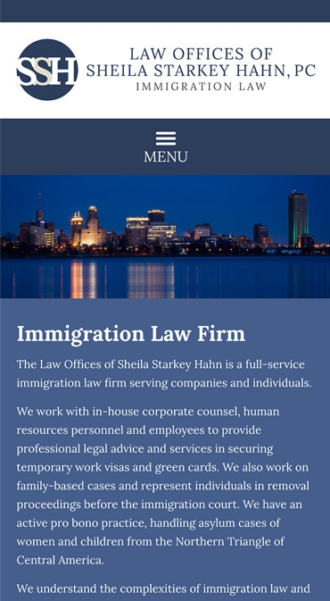 Responsive Mobile Attorney Website for Law Offices of Sheila Starkey Hahn, PC