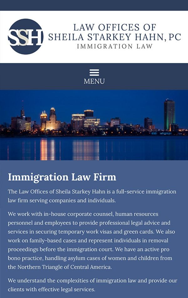 Mobile Friendly Law Firm Webiste for Law Offices of Sheila Starkey Hahn, PC