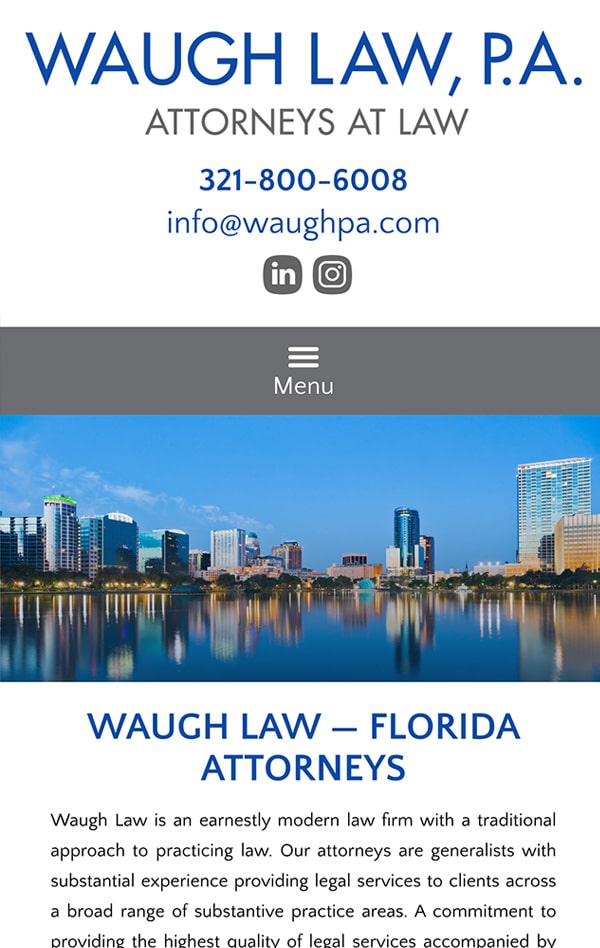 Mobile Friendly Law Firm Webiste for Waugh Law PA