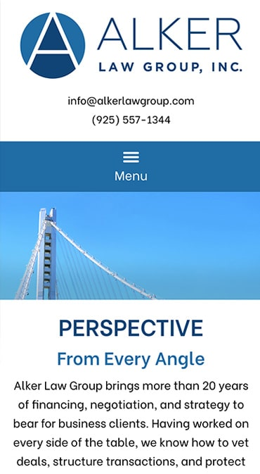 Responsive Mobile Attorney Website for Alker Law Group, Inc.