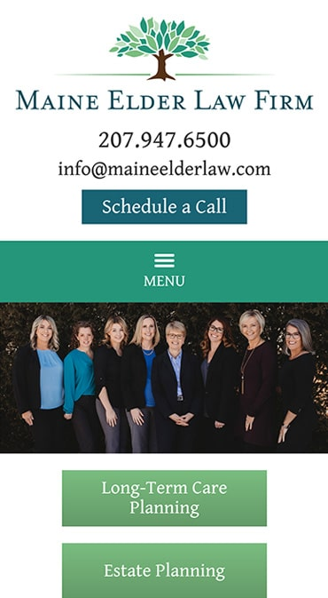 Responsive Mobile Attorney Website for Maine Elder Law Firm LLC