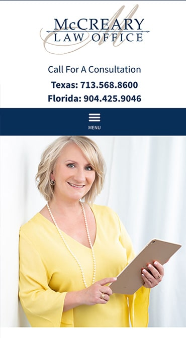 Responsive Mobile Attorney Website for McCreary Law Office, PLLC