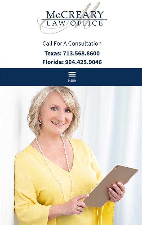 Mobile Friendly Law Firm Webiste for McCreary Law Office, PLLC