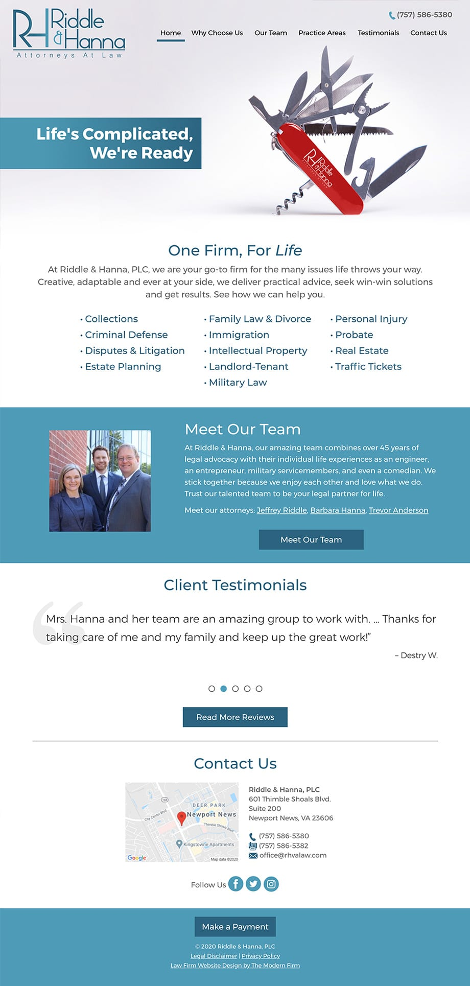 Law Firm Website for Riddle & Hanna, PLC