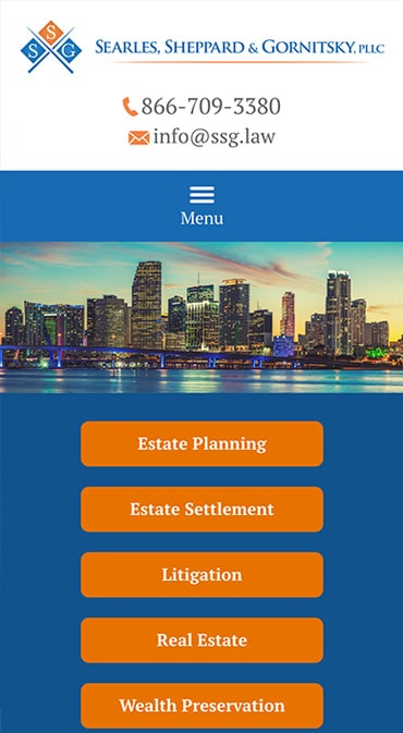 Responsive Mobile Attorney Website for Searles Sheppard & Gornitsky, PLLC