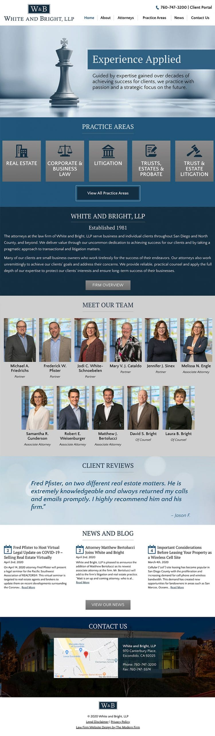 Law Firm Website Design for White and Bright, LLP