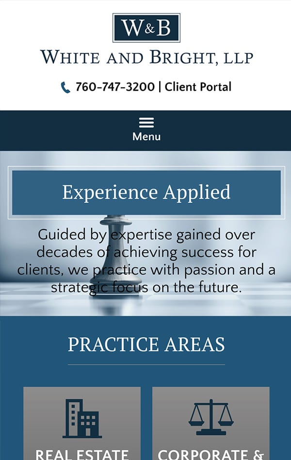 Mobile Friendly Law Firm Webiste for White and Bright, LLP