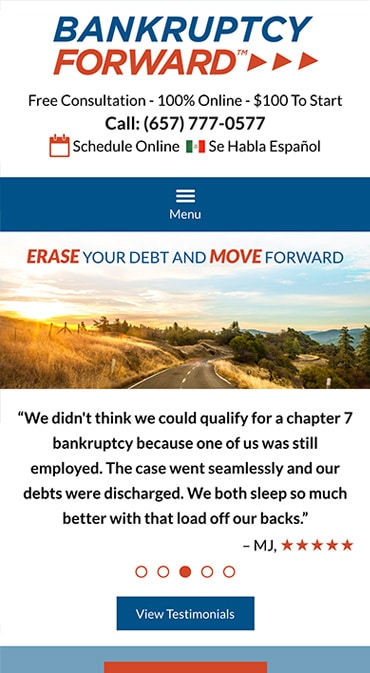 Responsive Mobile Attorney Website for Bankruptcy Forward
