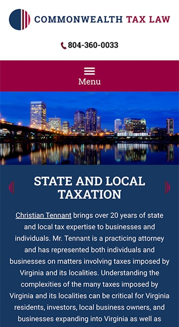 Responsive Mobile Attorney Website for Commonwealth Tax, LLC