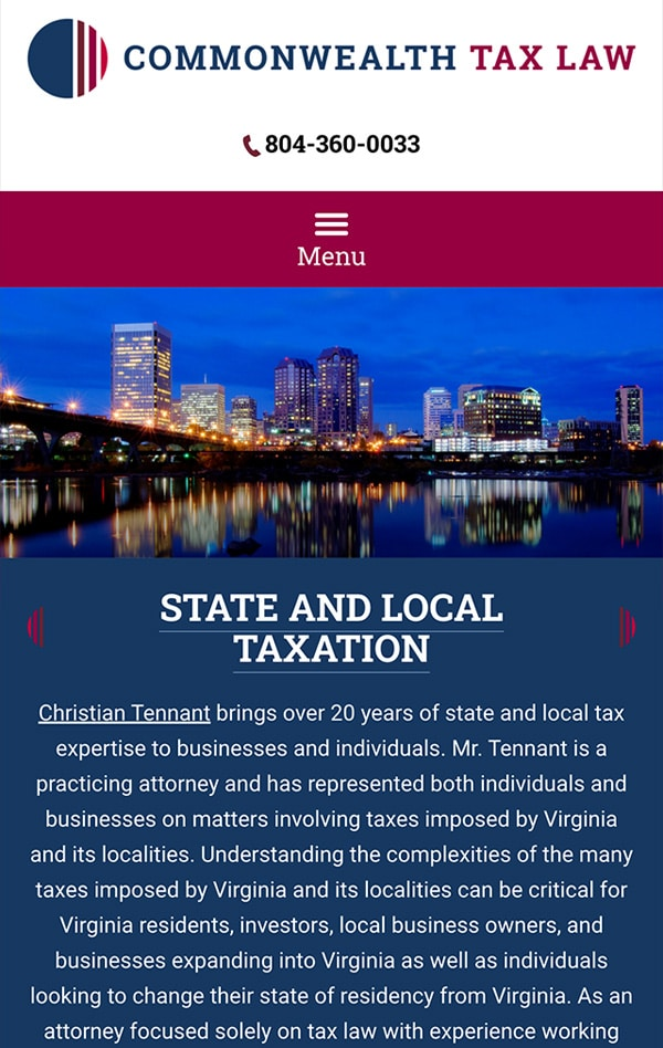 Mobile Friendly Law Firm Webiste for Commonwealth Tax, LLC
