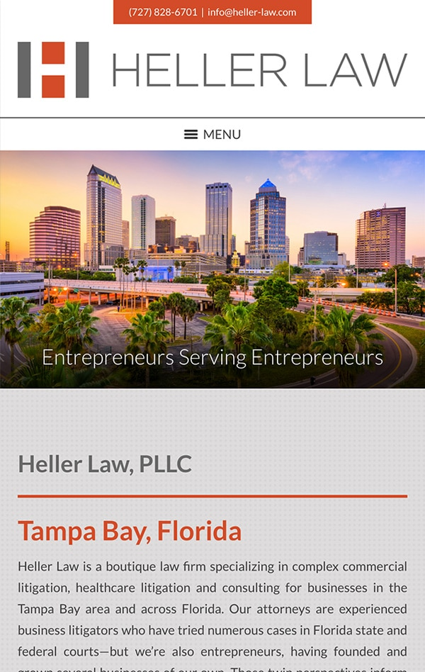 Mobile Friendly Law Firm Webiste for Heller Law, PLLC