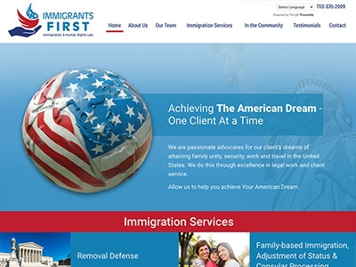 Website Design for Immigrants First, PLLC
