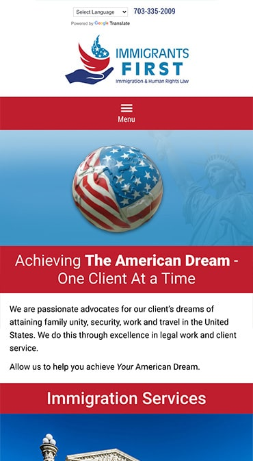 Responsive Mobile Attorney Website for Immigrants First, PLLC