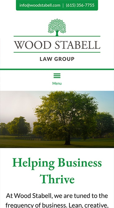 Responsive Mobile Attorney Website for Wood Stabell Law Group, PLLC