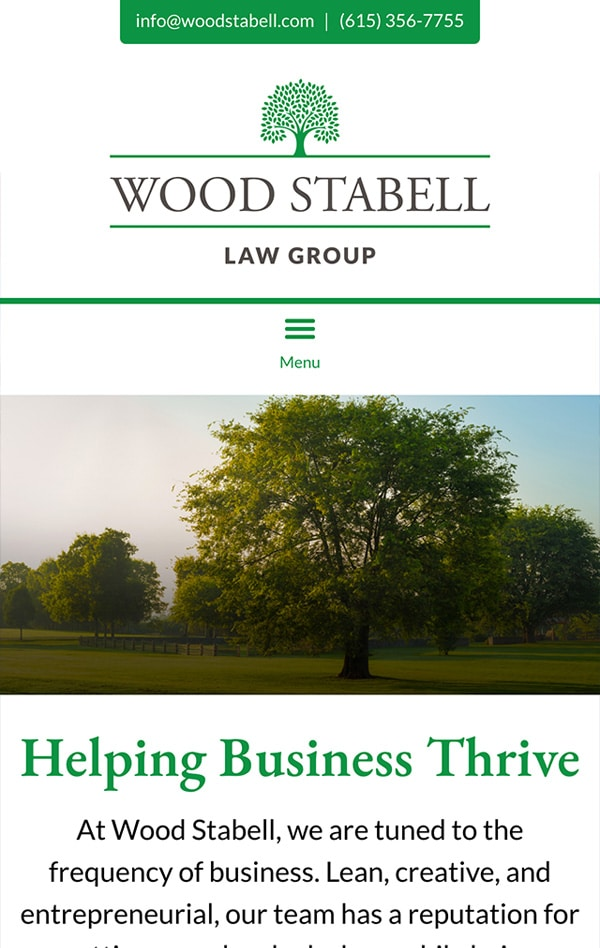 Mobile Friendly Law Firm Webiste for Wood Stabell Law Group, PLLC