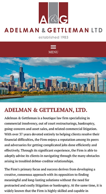 Responsive Mobile Attorney Website for Adelman & Gettleman, Ltd.