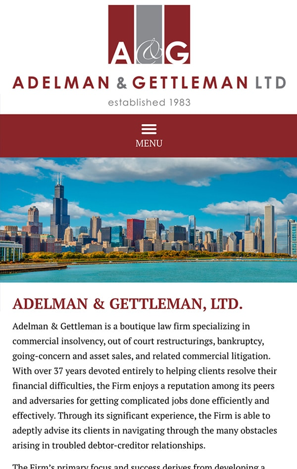 Mobile Friendly Law Firm Webiste for Adelman & Gettleman, Ltd.