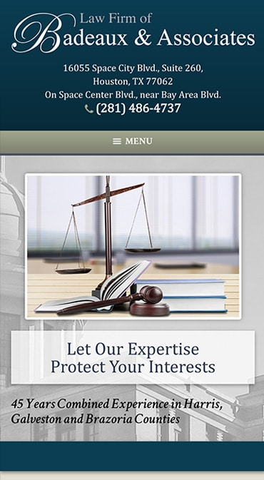 Responsive Mobile Attorney Website for Law Firm of Badeaux & Associates