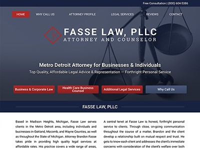 Law Firm Website design for Fasse Law, PLLC