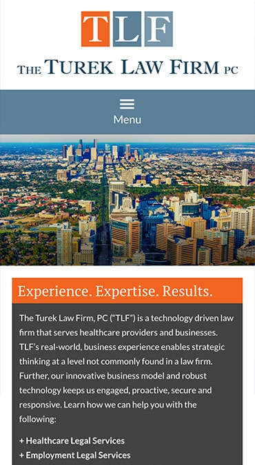 Responsive Mobile Attorney Website for The Turek Law Firm, PC