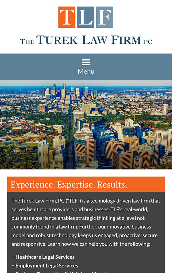 Mobile Friendly Law Firm Webiste for The Turek Law Firm, PC