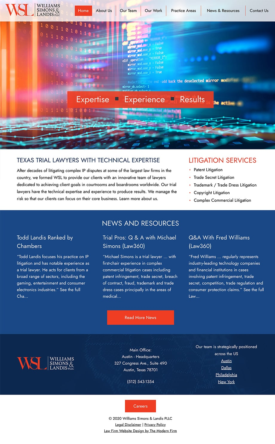Law Firm Website Design for Williams Simons & Landis PLLC