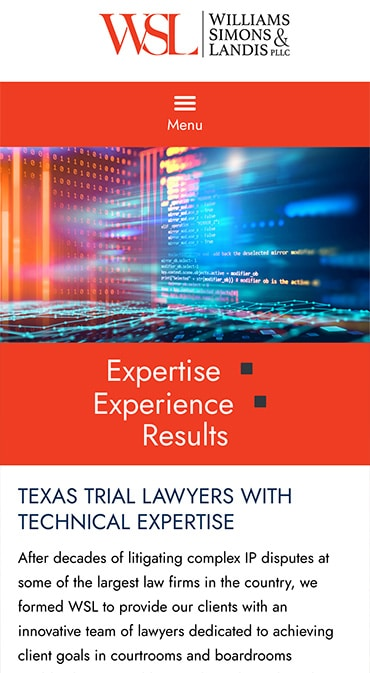 Responsive Mobile Attorney Website for Williams Simons & Landis PLLC